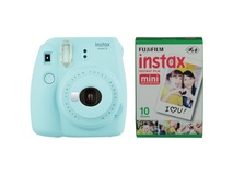 Fujifilm instax mini 9 Instant Film Camera with Instant Film Kit (Ice Blue, 10 Exposures)