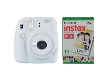 Fujifilm instax mini 9 Instant Film Camera with Instant Film Kit (Smokey White, 10 Exposures)
