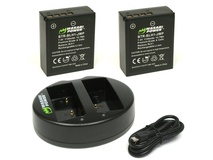Wasabi Power Battery and Dual USB Charger for Olympus BLH-1 (2-Pack)