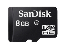 SanDisk 8GB microSDHC Memory Card Class 4 With SD Adapter