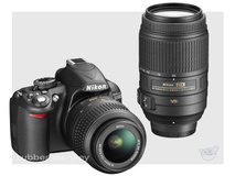 Nikon D3100 Twin Lens Kit including 18-55mm AF-S VR and 55-200 Lenses and SD card