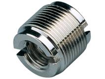 "K&M 215 Thread Adapter, 1/2 and 3/8"" Female Thread, 5/8"" 27 Gauge Male Thread (Nickel)"