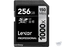 Lexar 256GB Professional 1000x UHS-II SDXC Memory Card (Class 10, UHS Speed Class 3)