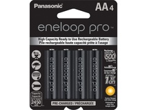 Panasonic eneloop pro AA Rechargeable Ni-MH Batteries (2450 mAh, Pack of 4)