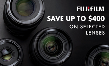 Save up to $400 selected Fujifilm Lenses