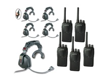 Eartec USSC5000IL 5-User SC-1000 Two-Way Radio with Ultra Single Inline PTT Headsets