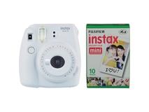 Fujifilm instax mini 9 Instant Film Camera with Instant Film Kit (Smokey White, 10 Exposures)