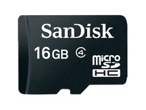SanDisk 16GB microSDHC Memory Card with SD Adapter