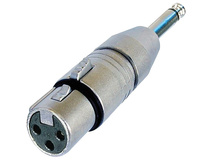 "Neutrik NA2FP 3-Pole XLR Female to Mono 1/4"" Male Adapter (Tip, Sleeve Contact)"