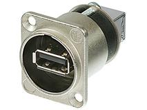 Neutrik Reversible USB A to USB B Gender Changer in D-Shape Housing (Nickel)
