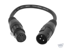 American DJ AC3PM5PFM Accu-Cable 3-Pin Male to 5-Pin XLR DMX Turnaround Cable