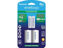 Panasonic Eneloop Rechargeable AA Ni-MH Batteries with D Spacers (2000mAh, Pack of 2)