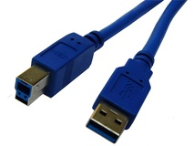DYNAMIX 1M USB 3.0 Type A Male to Type B Male Cable (Blue)